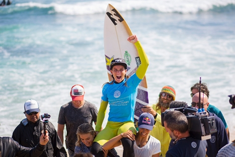 Courtney Conlogue celebrating her win at the Drug Aware Margaret River Pro.