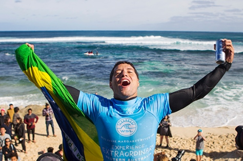 Adriano De Souza celebrates his win at the Drug Aware Margaret River Pro.